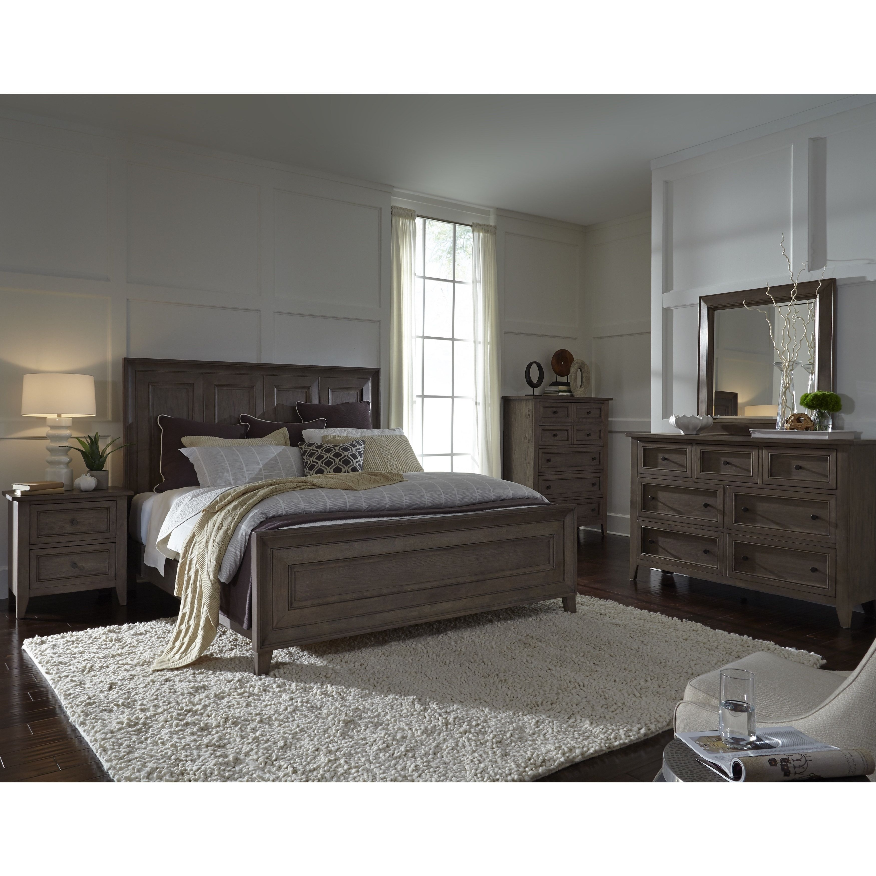 Magnussen Home Furnishings Talbot Driftwood Finish Wood And Veneer Queen Panel Bed Beige