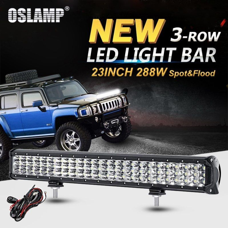 LED Work Light Bar 288W Driving Beam Lamps Spot Flood Offroad SUV Lights 12V-24V
