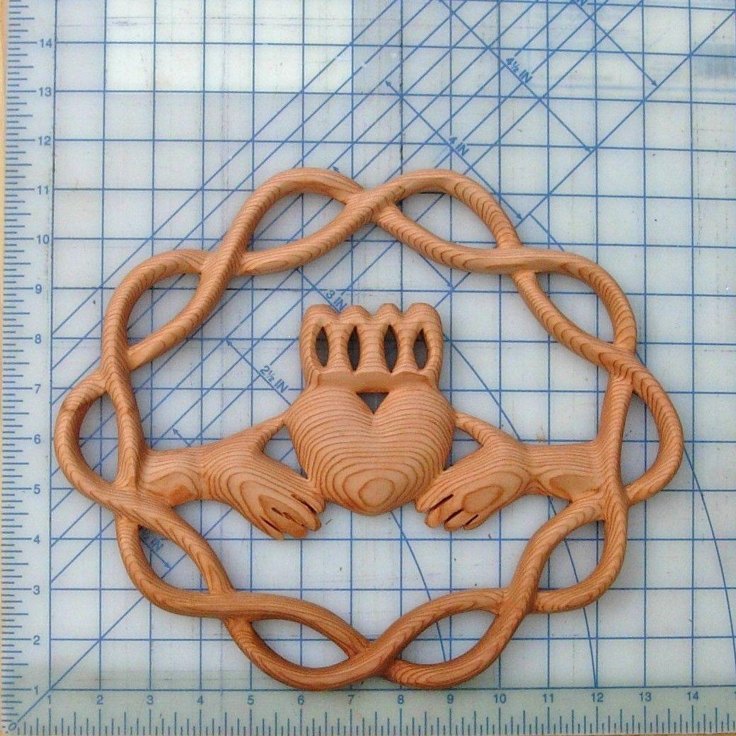 Claddagh Wood Carving-traditional Irish Symbol-celtic Knot