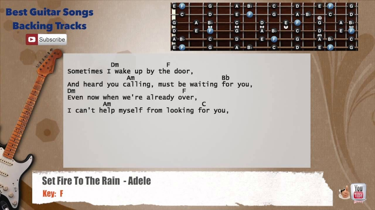 Set Fire To The Rain Adele Guitar Backing Track With Scale