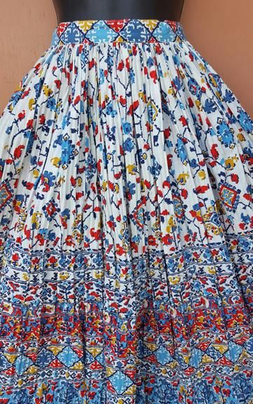 944ca8a359 1950s women's vintage cotton patio, almost a full circle skirt size small  to medium. Wonderful fabric with a permanent pleat, fantastic multi color,