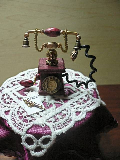 Altes Telefon Im Massstab 1 12 Dollhouse Miniatures Miniature