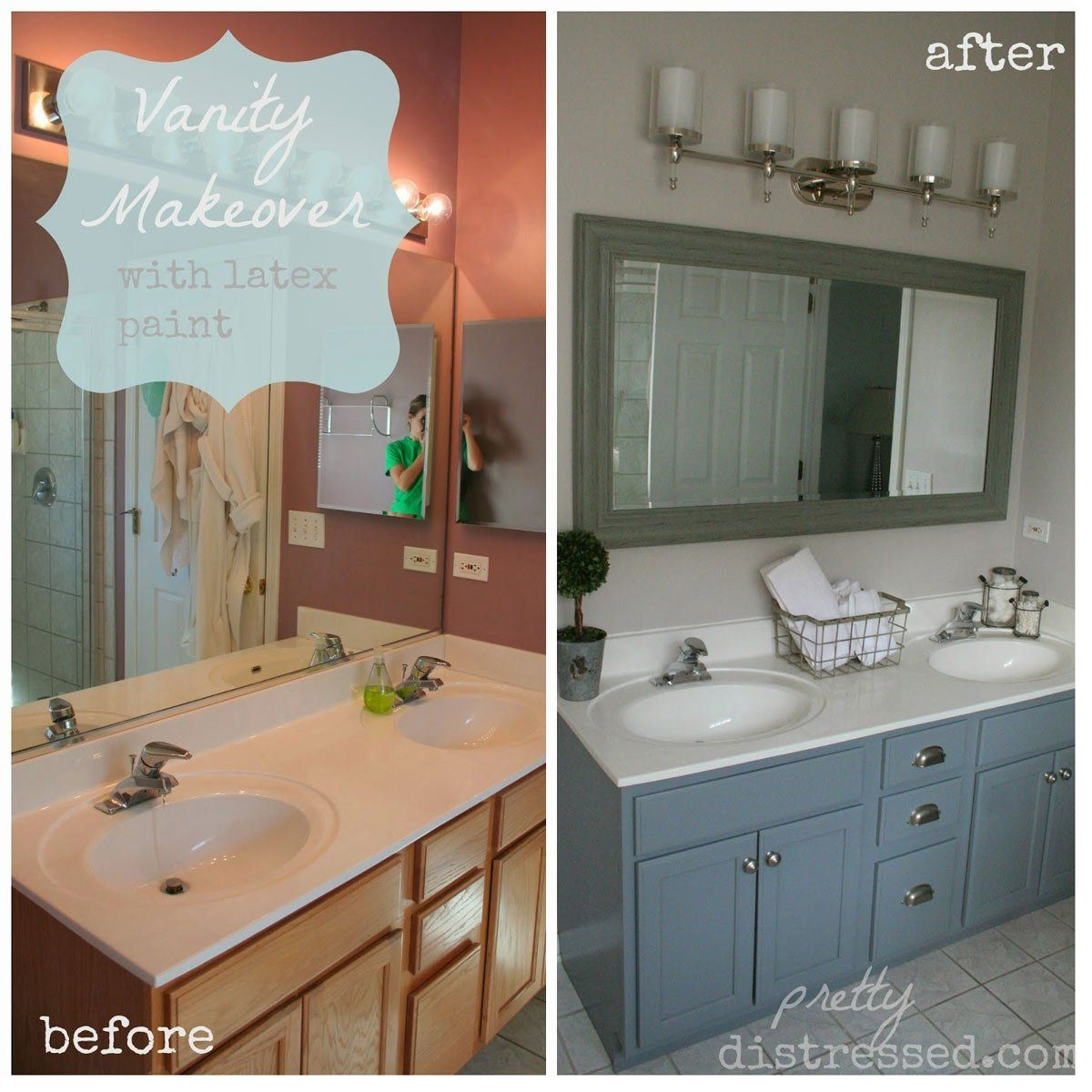12 Astonishing Diy Bathroom Vanity Makeovers Painted Vanity Bathroom Bathroom Cabinet Makeover Vanity Makeover