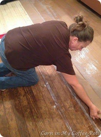 How to Make Beautiful Brown Paper Bag Floors #paperbagflooring