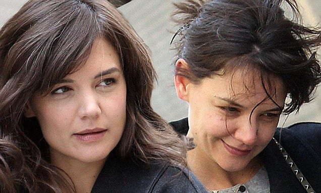 Katie Holmes shows off beautiful voluminous hairstyle on TV pilot set