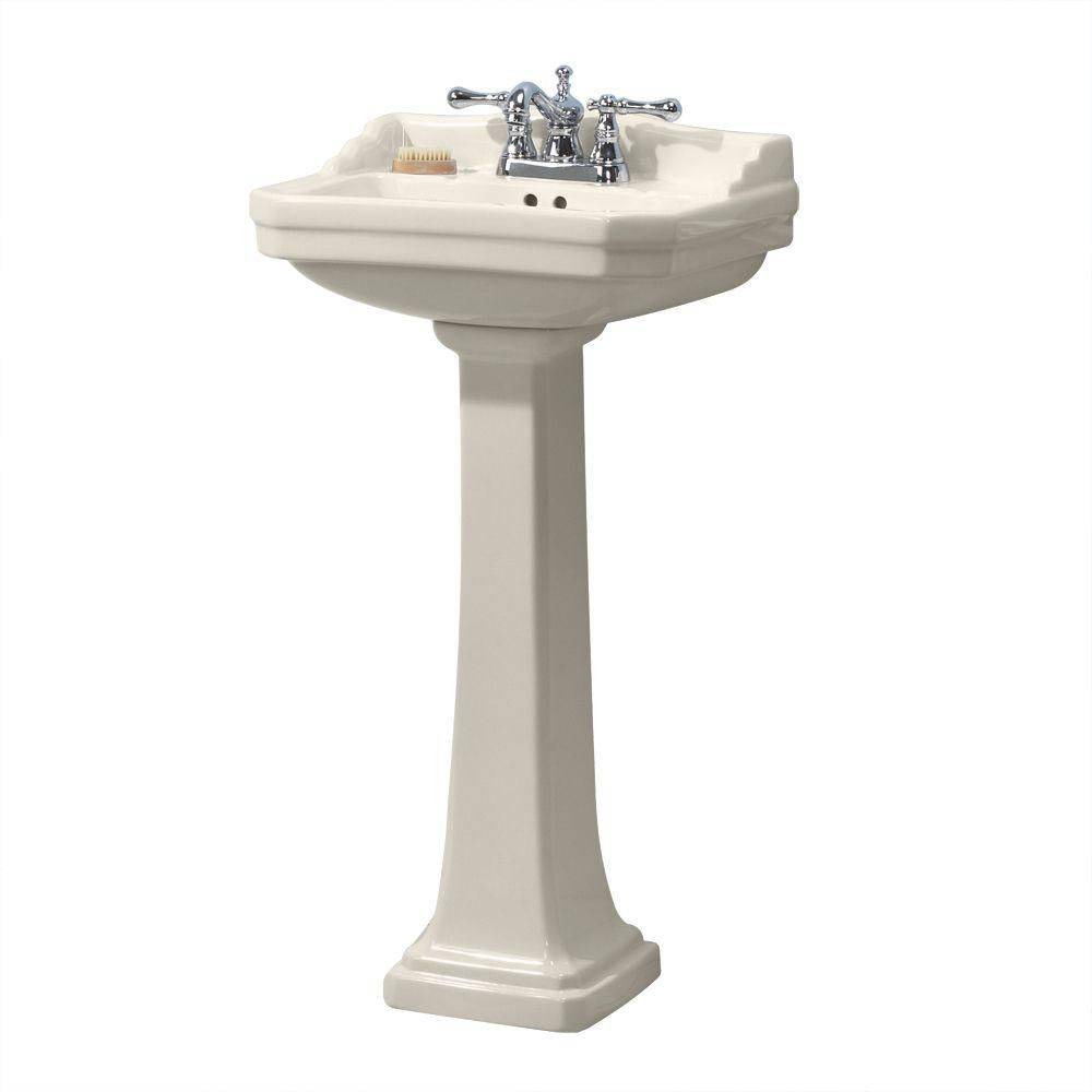 Foremost Series 1920 Vitreous China Pedestal Sink Combo In Biscuit Pedestal Sink Sink Bathroom Faucets