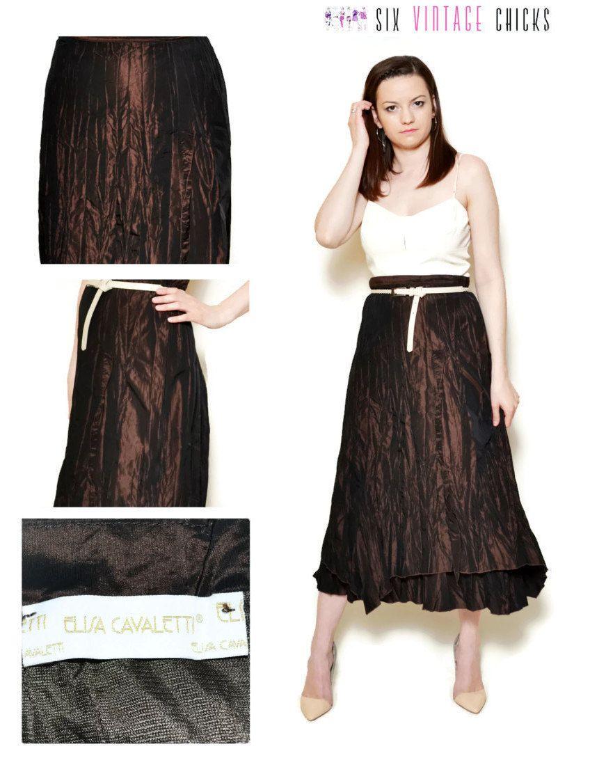 2362820b9 asymetrical skirt midi high waisted brown boho chic women clothing 90s clothing  bohemian ball skirt evening formal XL by SixVintageChicks on Etsy