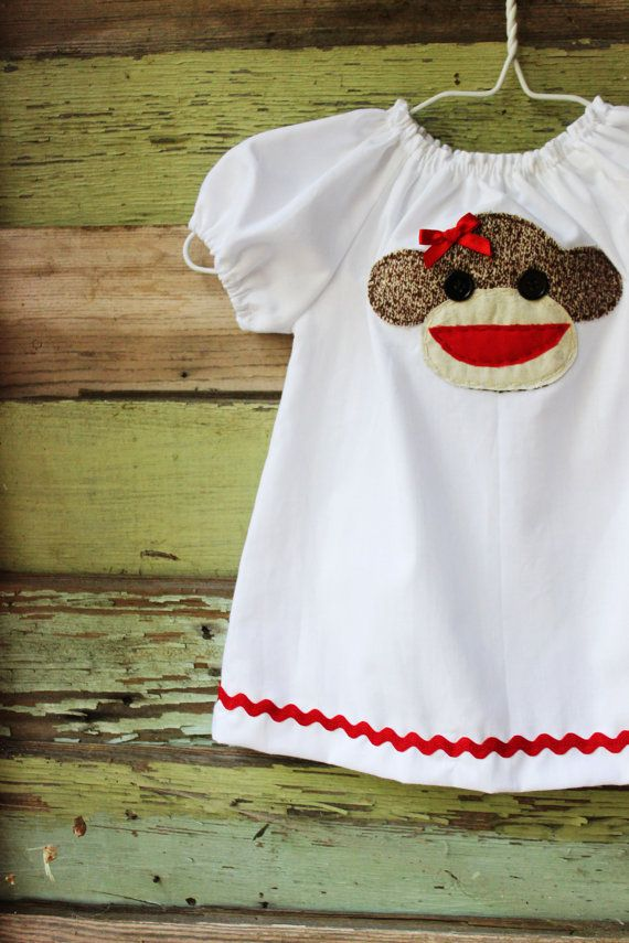 7dbdf211c Sock Monkey peasant dress coming home outfit size newborn 0-3 3-6 6 ...