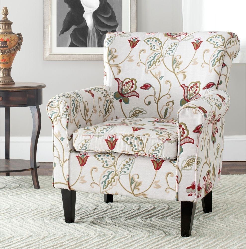 Club Chair Seat Red Flowers Ivory Transitional Cotton Living Room ...