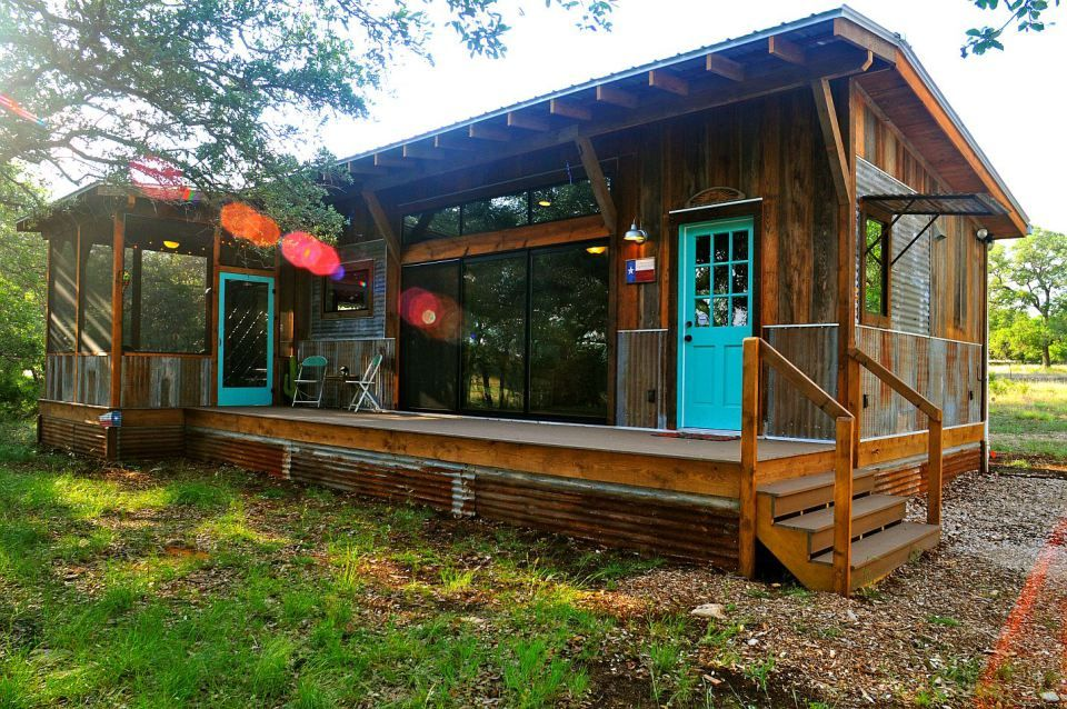 Reclaimed materials give this cabin the rich patina of age. The cabin has one bedroom in 640 sq ft. | www.facebook.com/SmallHouseBliss