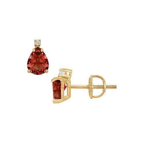 Diamond and Garnet Stud Earrings : 14K Yellow Gold - 2.04 CT TGW