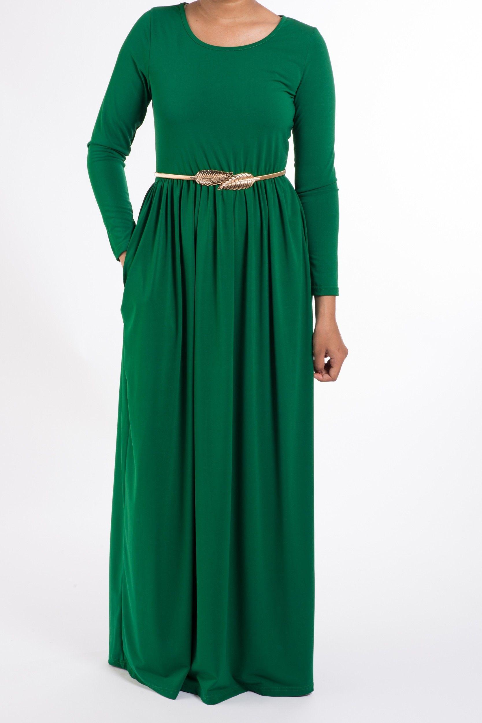 Royal green milk silk maxi dress soft dresses maxi