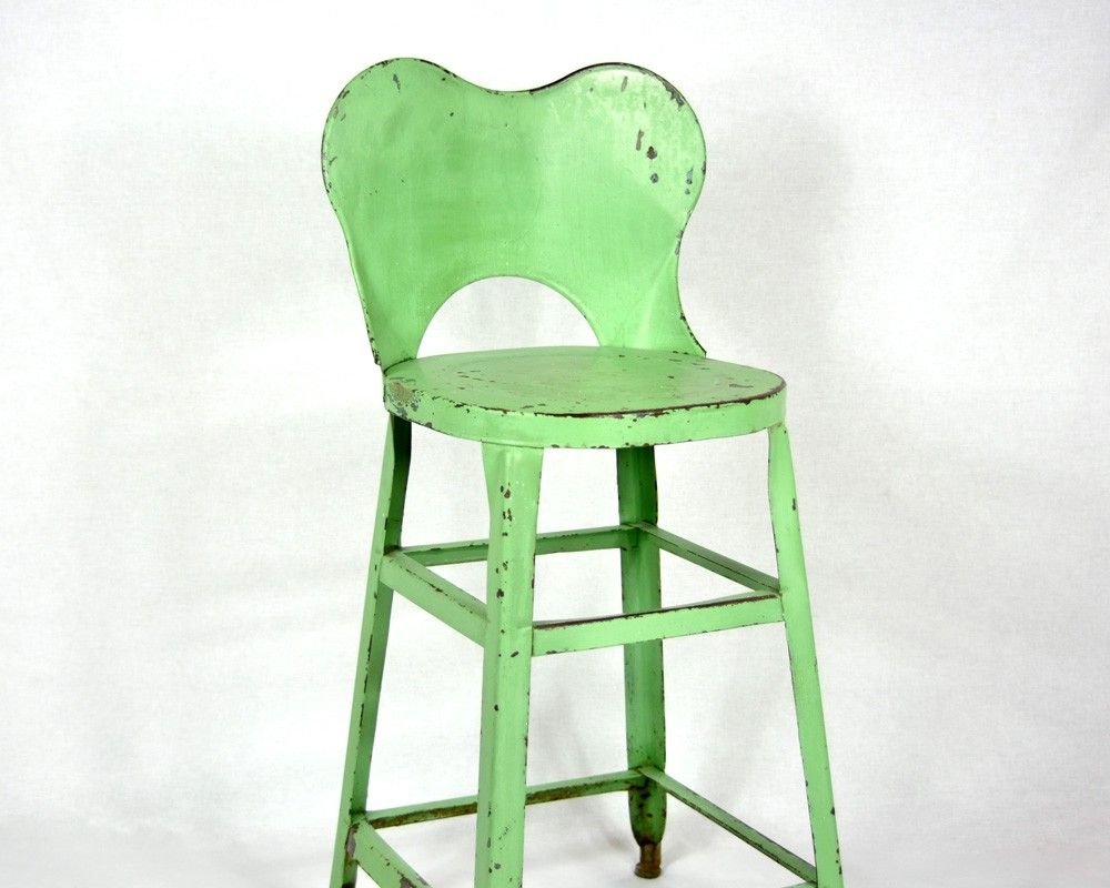 Vintage Green Painted Industrial Metal Stool With Back. $68.00, Via Etsy.
