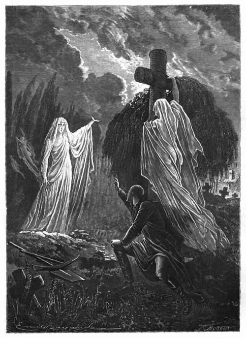 Summoning spirits.  Émile Bayard, from Histoire de la magie (History of magic), by Paul Christian, Paris, 1870