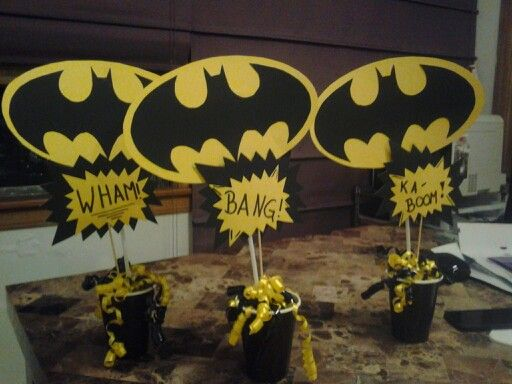 Batman party centerpiece & Batman party centerpiece | boy shower | Pinterest | Batman party ...