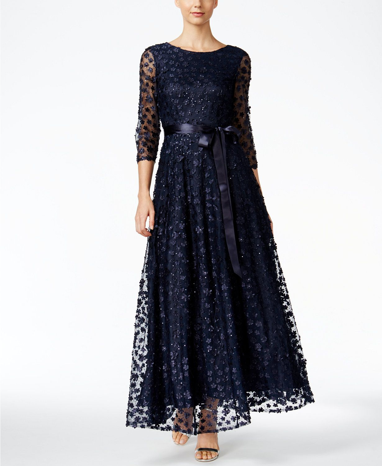 Tahari Asl Floral Lace A Line Gown Macys Com A Line Gown Lace Dress With Sleeves White Evening Gowns [ 1500 x 1230 Pixel ]