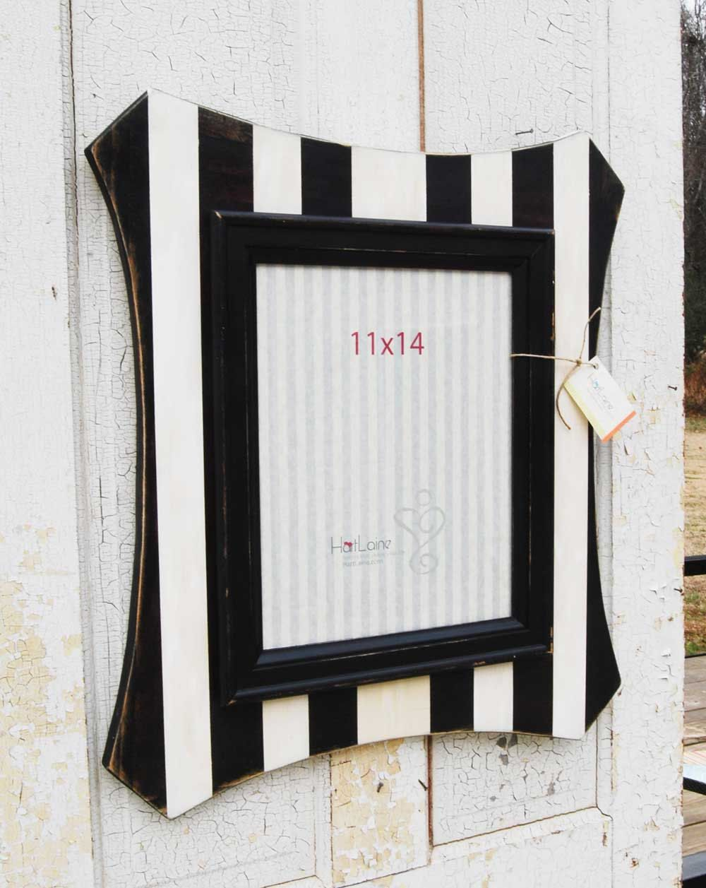 11x14 Striped Picture Frame - Black and White Vertical Stripes ...