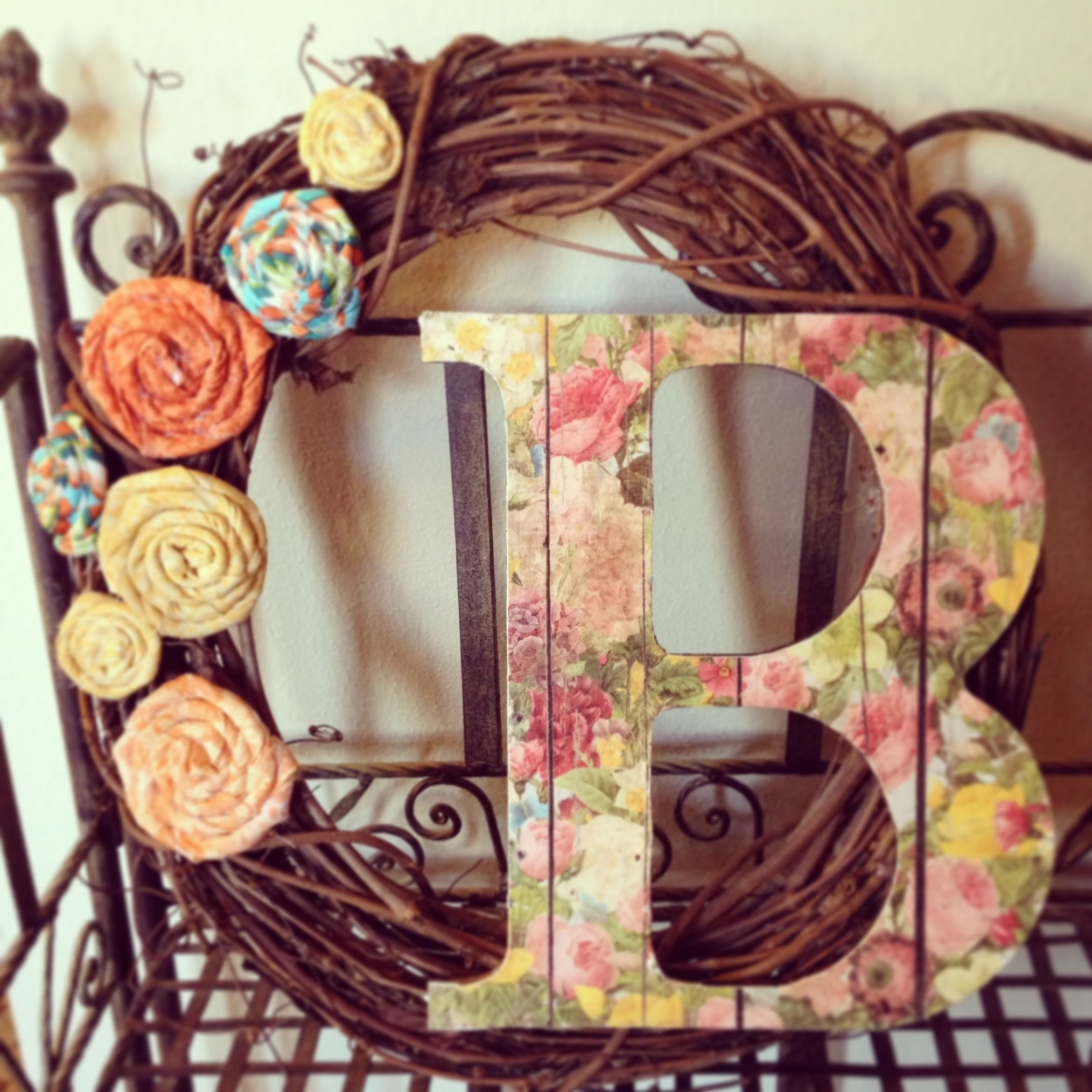 How to glue scrapbook paper to wood letters - Spring Wreath Grapevine Wreath Unfinished Wood Letter Covered By Scrapbook Paper Rosettes