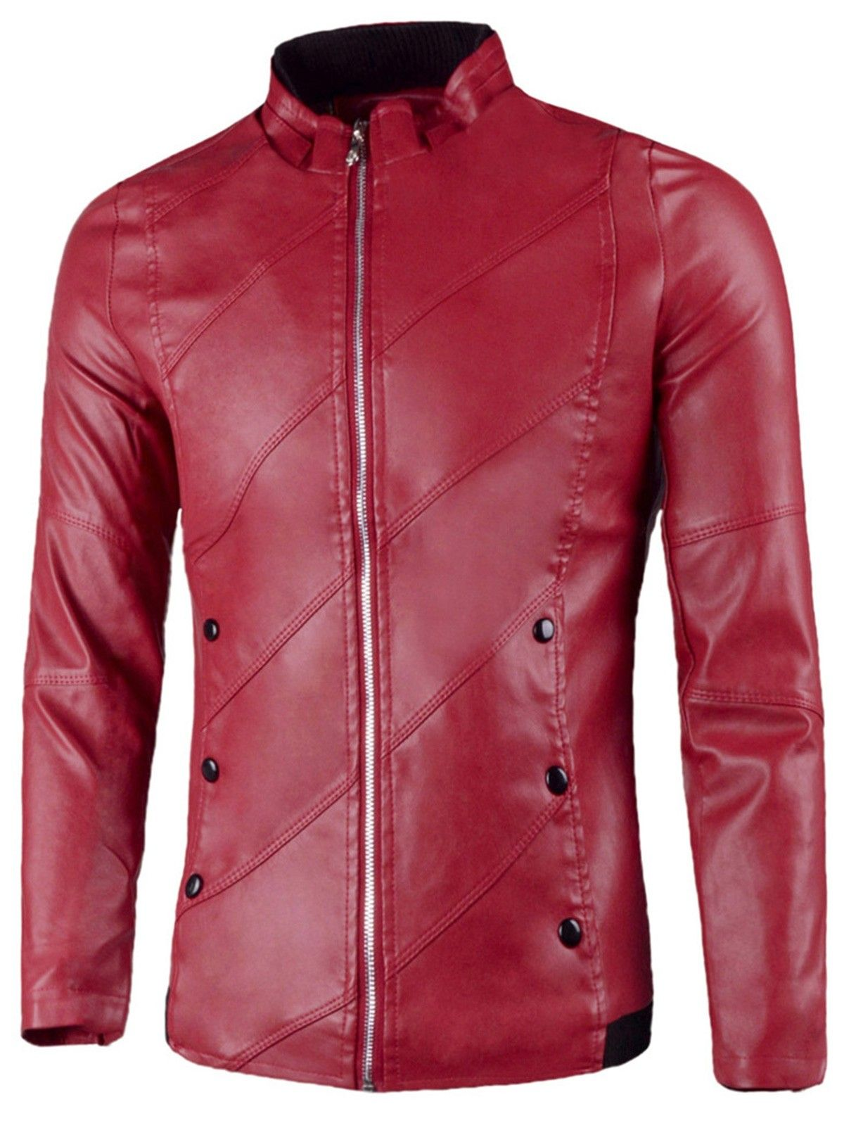 Flap Button Embellished Faux Leather Jacket Red