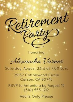 gold retirement invitation gold retirement party invitation