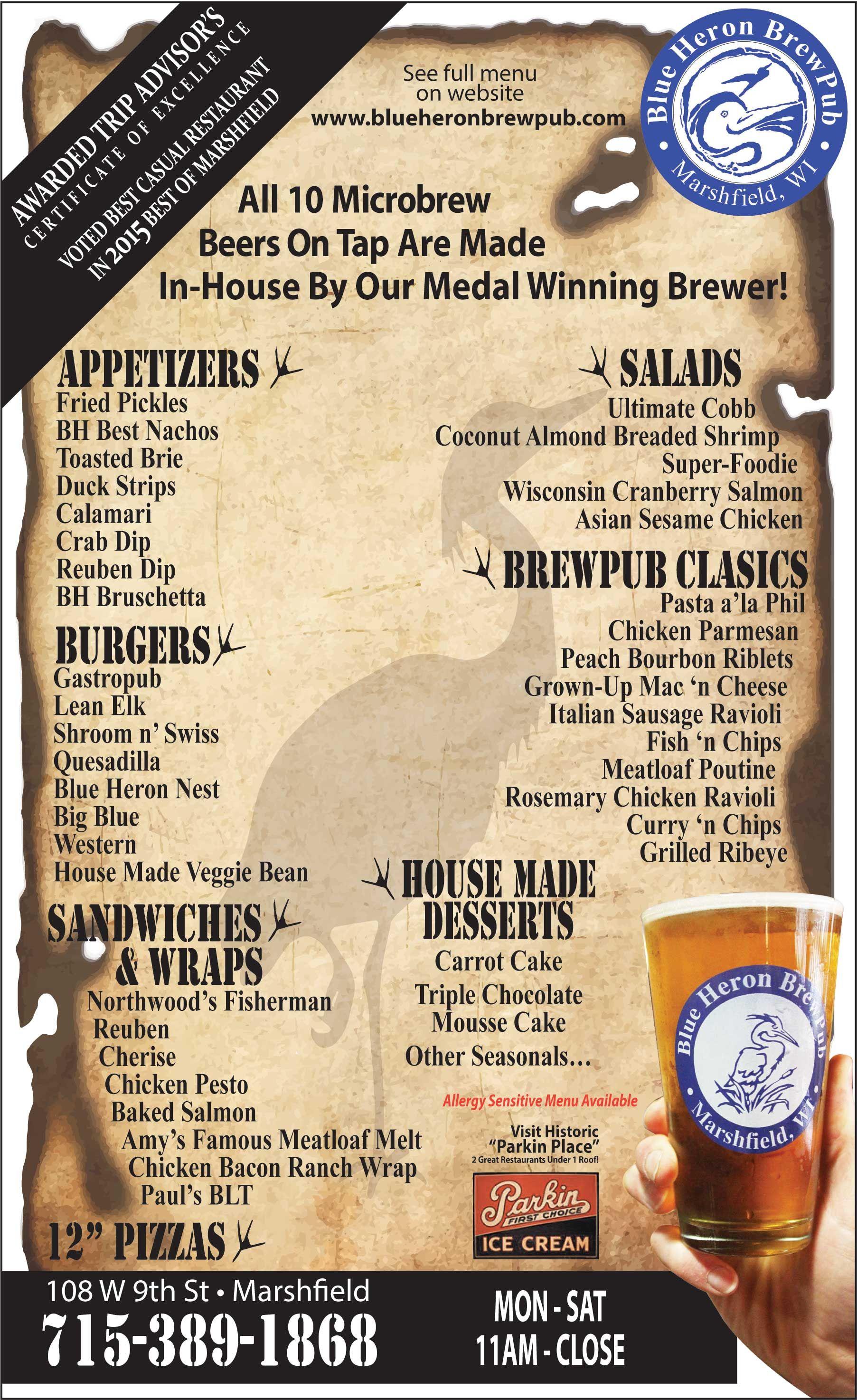 Blue Heron Brewpub Restaurant Menu Marshfield Wi 2015 16