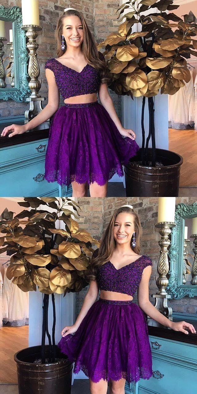 Sexy two pieces cap sleeves cheap short homecoming dresses online