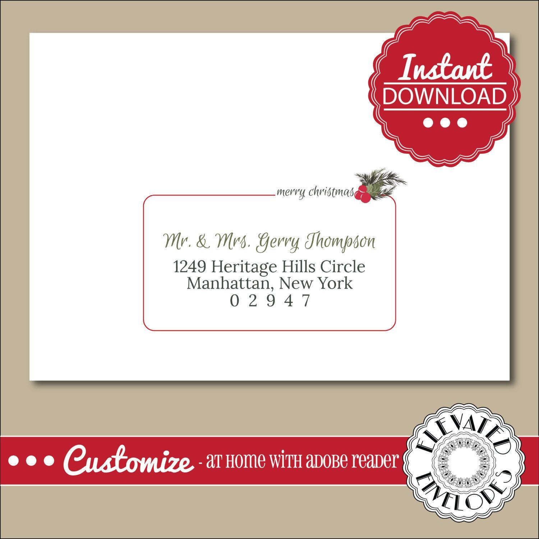 Editable Christmas Envelope Template Templett Christmas Etsy Christmas Envelope Template Envelope Template Christmas Envelopes