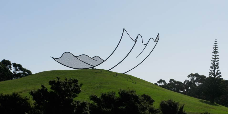 Horizons, 1994, by Neil Dawson. Welded and painted steel 15 x 10 x 36 m. You can see it on Gibbs Farm in New  Zeeland