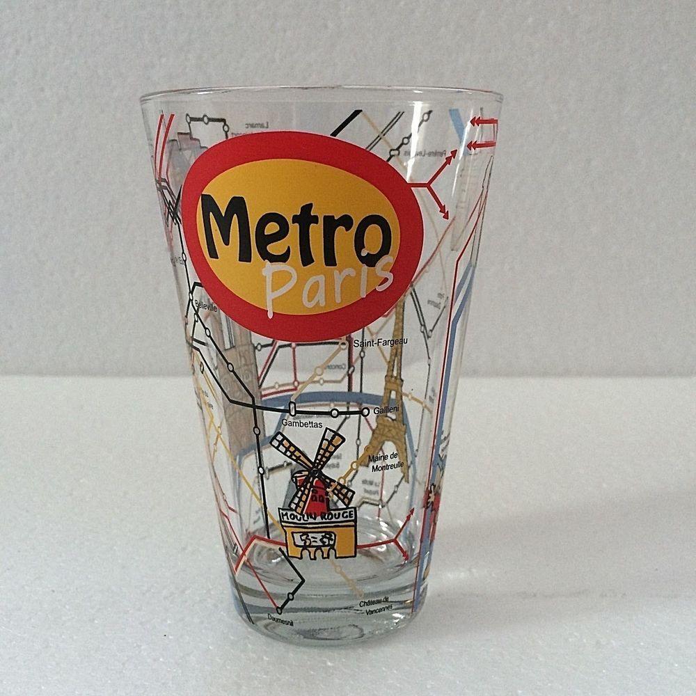 New York Subway Map Drinking Glass 16oz.Cerve Drinking Glass Paris Metro Subway Map Souvenir Collectible