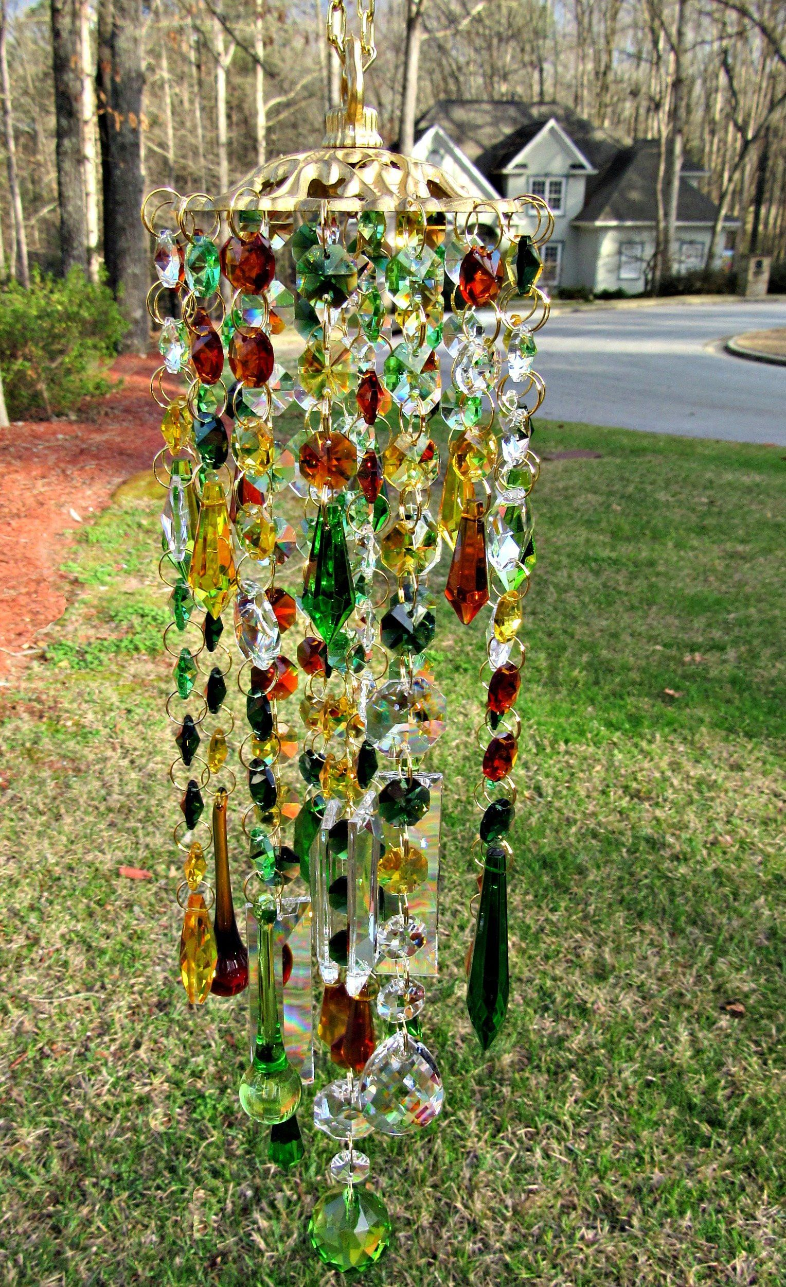 Fall Colors Crystal Wind Chime Garden Decor Sun Catcher Wc180lfc Crystal Wind Chimes Wind Chimes Garden Art Crafts