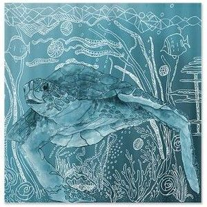 Sea Turtle Blue Shower Curtain: Shelley Of The Deep Blue Sea Turtle