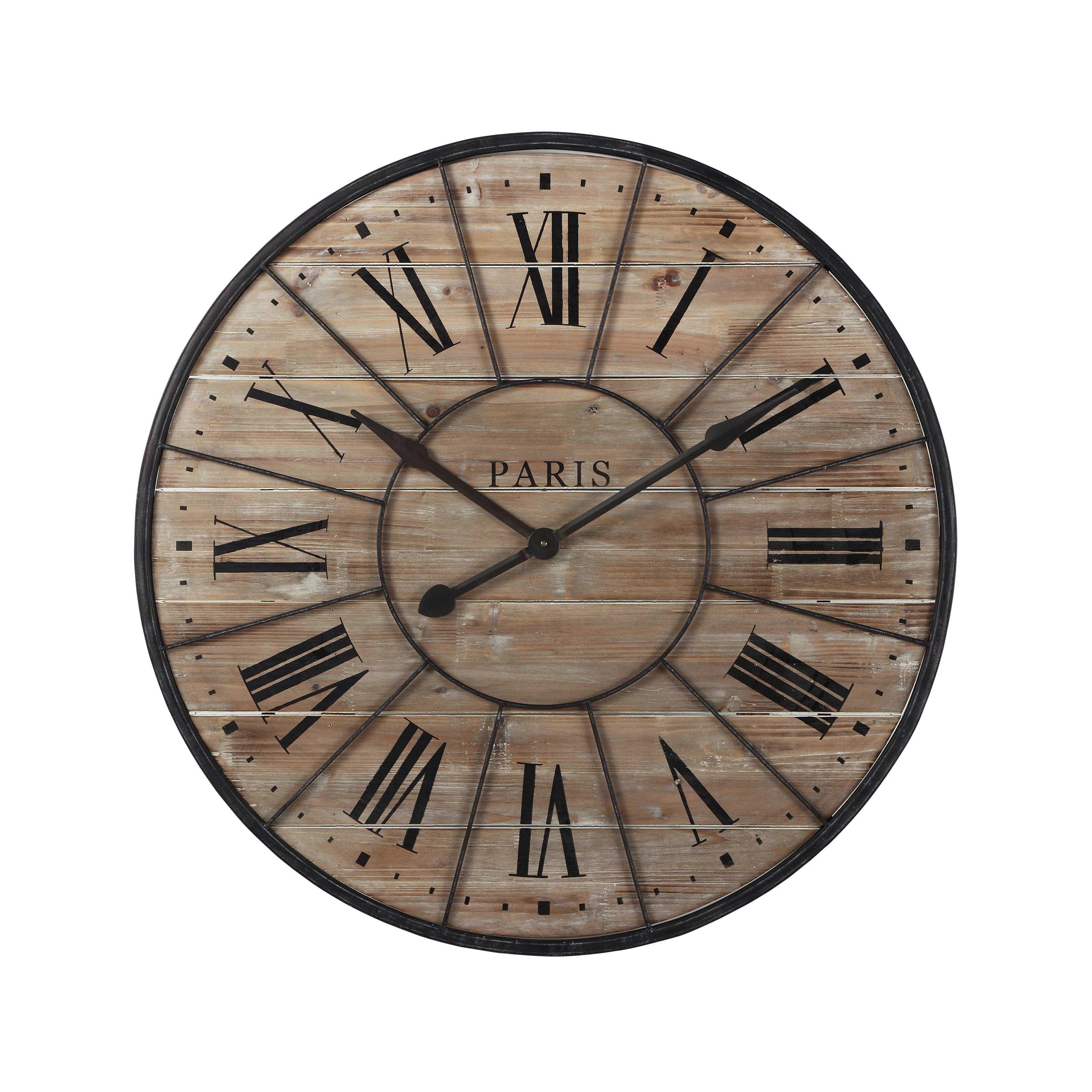 Horloge En Bois Et Metal D 90 Cm Valmy Maisons Du Monde Horloge Bois Horloge Murale Horloge