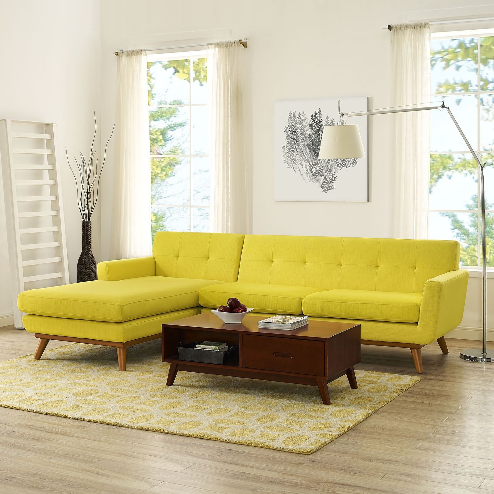 Modway Engage Mid Century Modern Tufted Sectional Azure Beige f