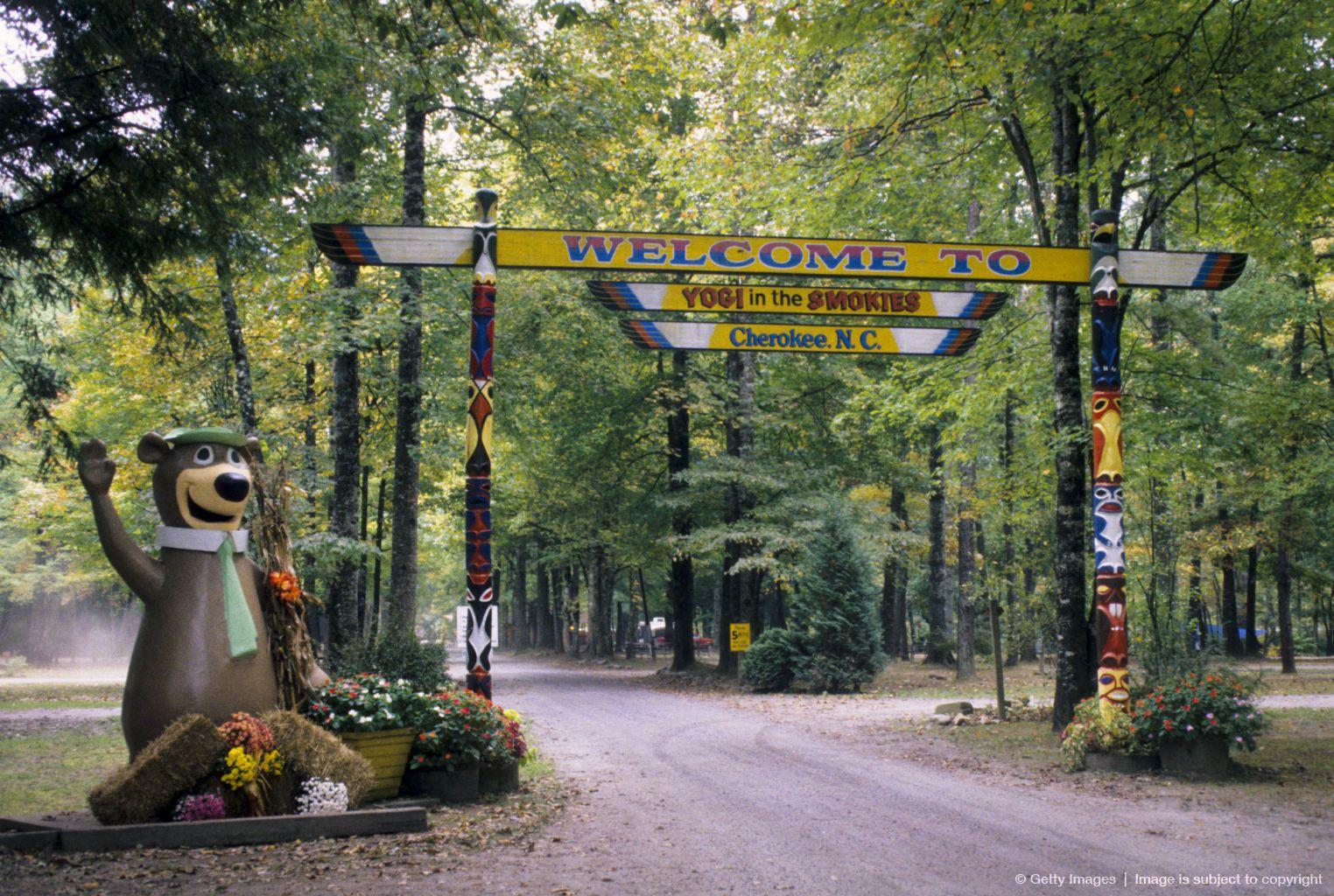 Image detail for -USA, North Carolina, Yogi Bear�s Jellystone Park, Entrance to Cherokee Yogi in the Smokies campgroun