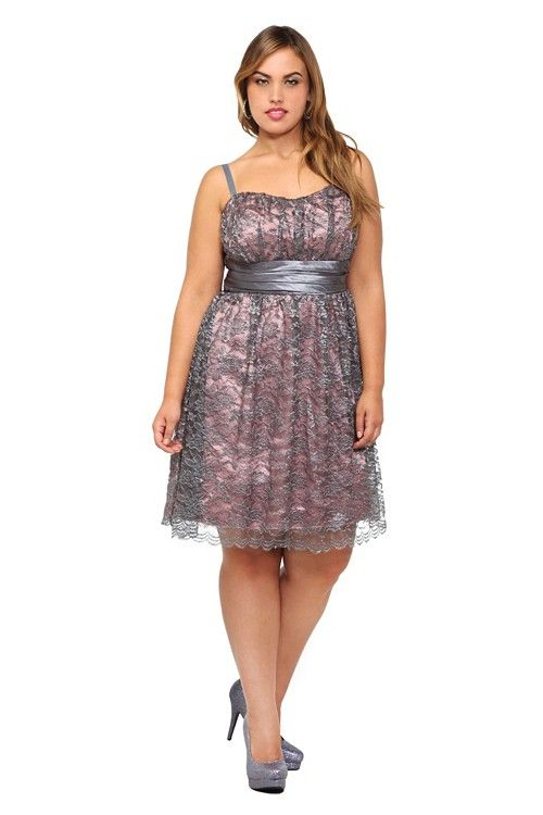 Metallic silver and grey lace over shimmering pink satin creates a ...