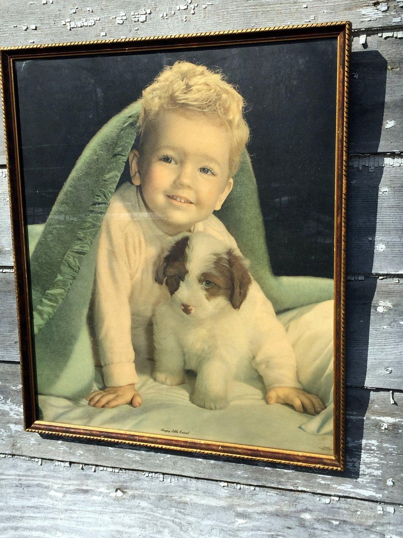 "Vintage Boy with Dog Puppy Print Titled ""Happy Little Rascal"" Children Child by Holliezhobbiez on Etsy"