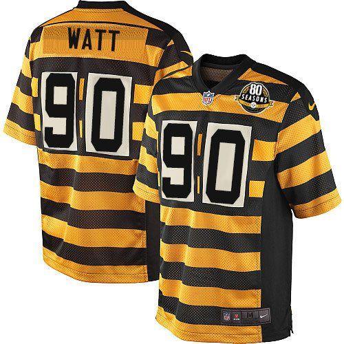 youth nike pittsburgh steelers 90 t. j. watt limited yellow black alternate 80th anniversary throwba