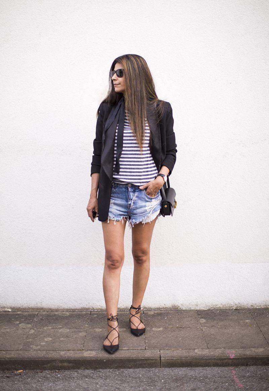 Outfit | Cut offs   Stripes   Skinny Scarf   Aquazzura Flats