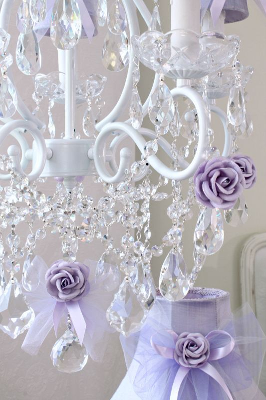 Chandelier with Lavender Tulle Bow