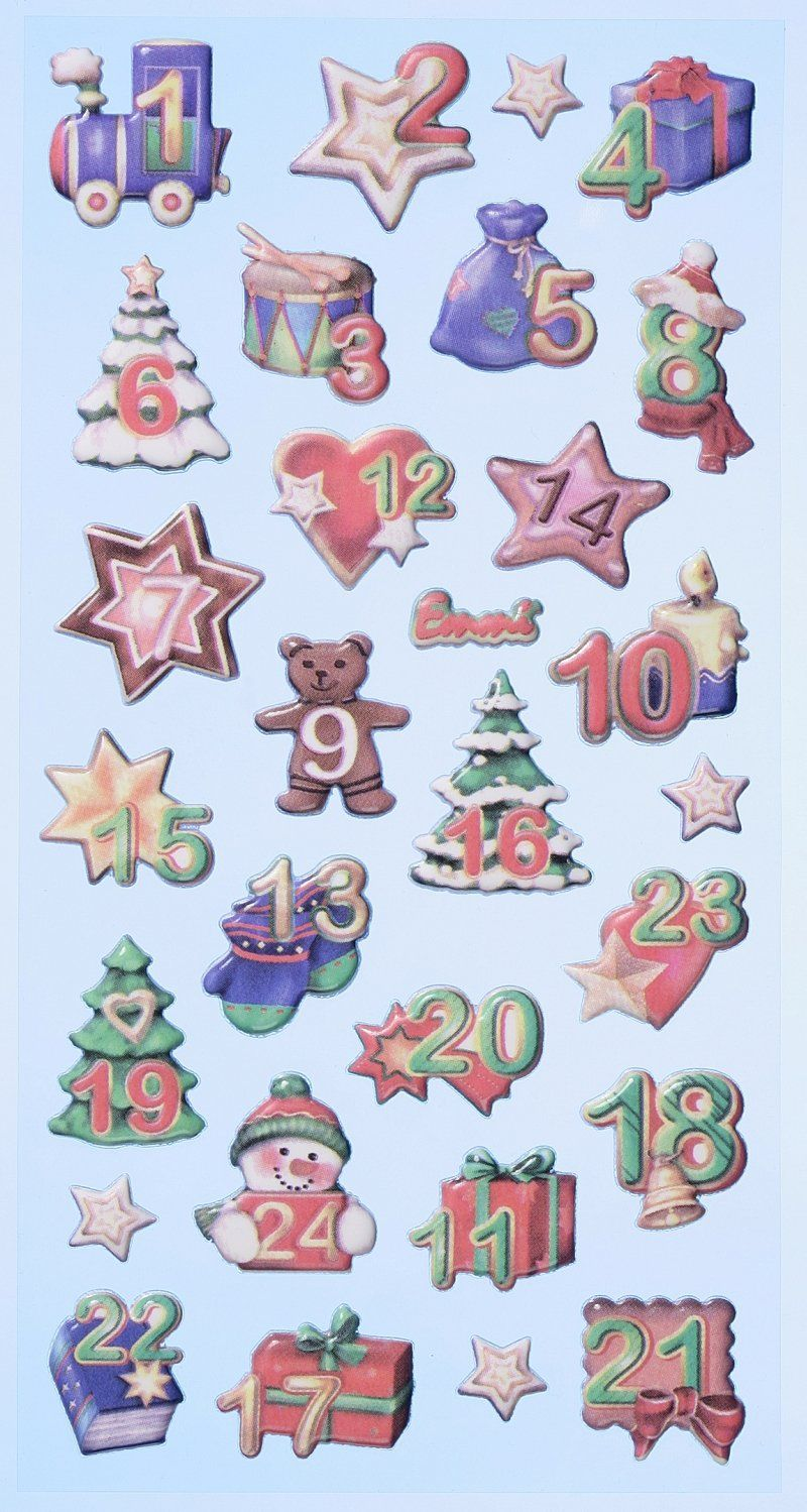 Creapop Sticker Softysticker * Adventszahlen Adventskalender * Aufkleber 3451140