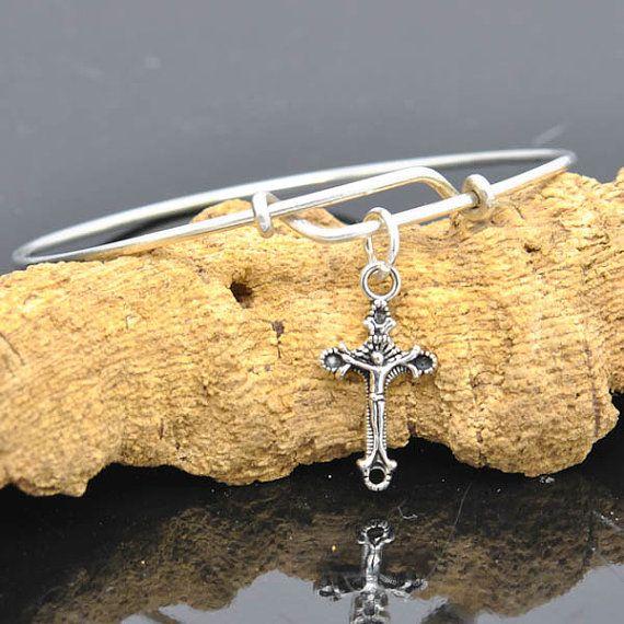 Cross Bangle Sterling Silver Bangle Adjustable by JubileJewel