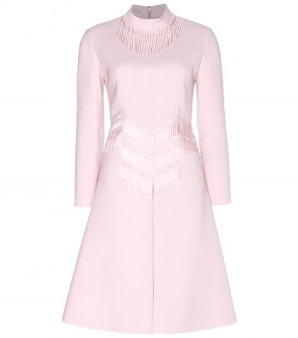 #miumiu - glass-fringed wool dress