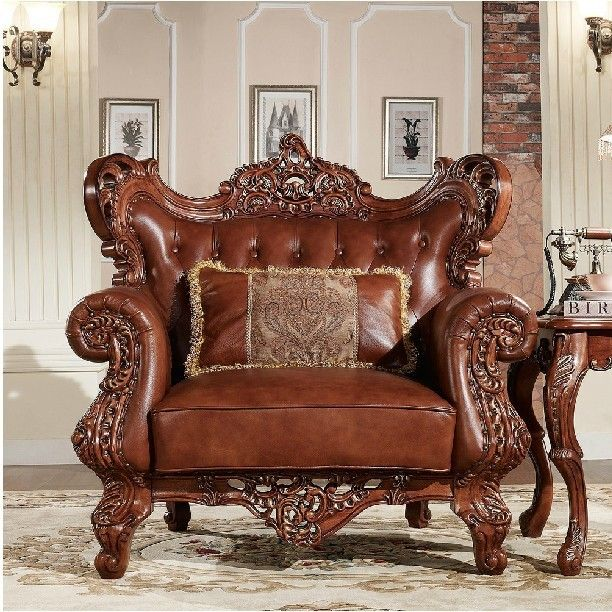 Good Solidwood Handcraft Sofa,Amarican Style Antique Living Room Furniture,one  Seat Sofa Real Leather
