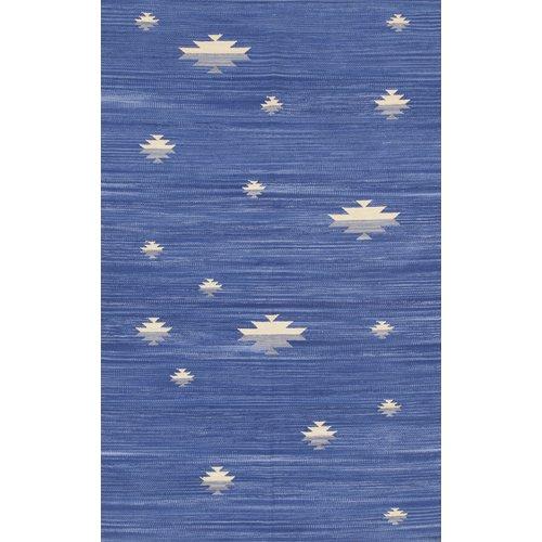 Brayden Studio Flat Woven Cotton Blue