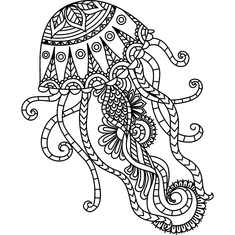 Hand drawn jellyfish zentangle style for coloring book, shirt design ...