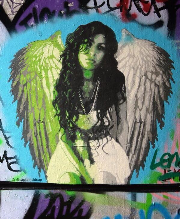 Angel #AmyWinehouse found in London's Leake Street Tunnel. #streetart