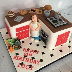 mom kitchen cake design Kitchen cake - red  Birthday cake for mom, Mom cake, Fondant cake