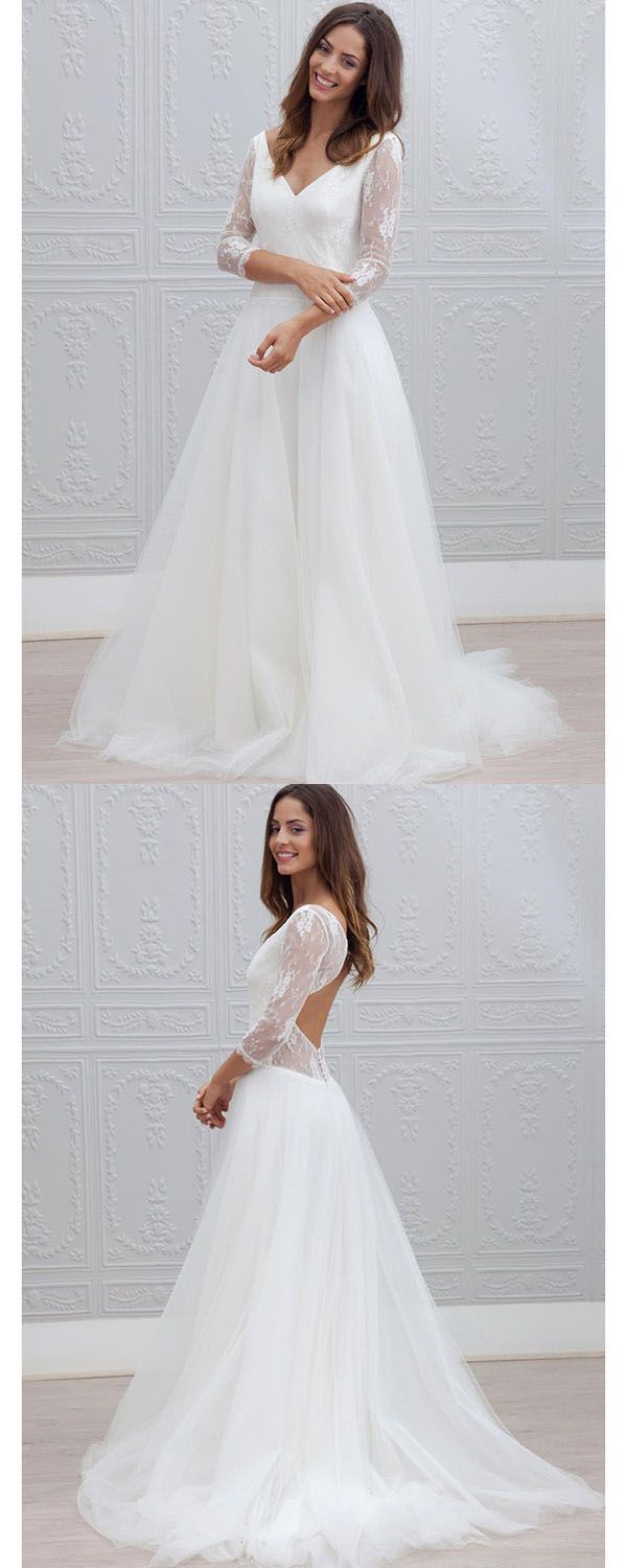 Aline vneck open back lace beach wedding dress with sleeves
