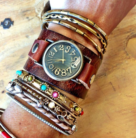 Bracelet De Montre Bracelet Cuir Manchette Watch Par Threebirdnest 68 00 Montre Bracelet Bracelet Cuir Cuir