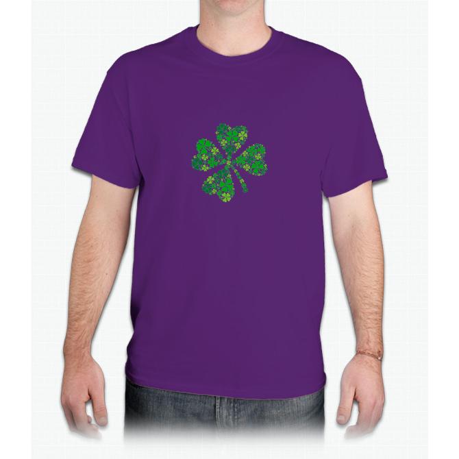 lucky four-leaf clover, green shamrock - Mens T-Shirt